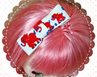 Vintage Ribbon Hair Bow for Blythe / Red and Blue Elephants