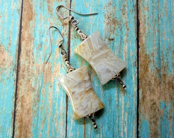 White and Yellow Bamboo Leaf Agate and Silver Earrings (3320)