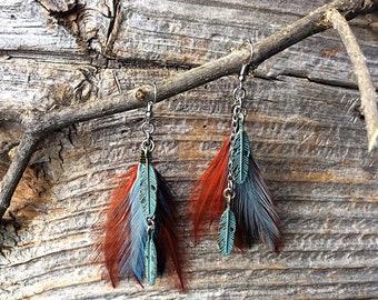 Turquoise feather earrings, feather earrings, turquoise earrings, bohemian earrings, rustic earrings boho, copper earrings, hippie jewelry