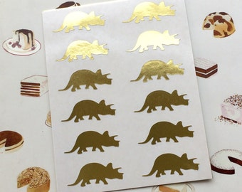 Triceratops Dinosaur Stickers / Labels in Gold Foil or Gloss White