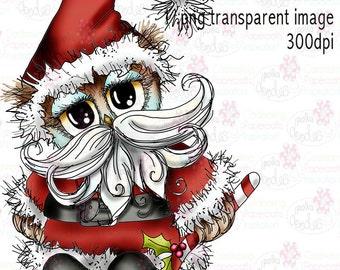 Twiggy & Toots Owl Christmas Santa zwart en wit digitale stempel