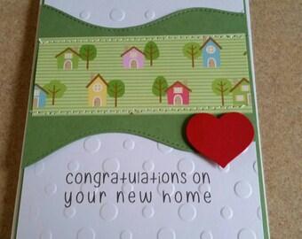 Sewn Handmade New home Card