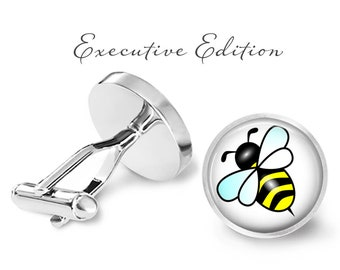 Honey Bee Cufflinks - Beekeeper Cuff Links - Honeybee Cufflink - (Pair) Lifetime Guarantee (S0943)