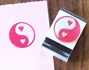 May Sale Yin Yang Symbol with Hearts Rubber Stamp 008