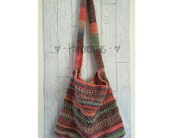 Crochet shoulder bag, hip bag, tote bag, market bag, vegan bag, boho shopper, crossbody bag, slouch bag, gypsy chic, ladies hippy gift