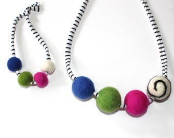 Multi colored Doll and Me Felted wool  Ball Necklace