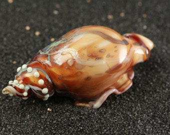 Amber Swirl Lampworked Blown Glass Sea Shell
