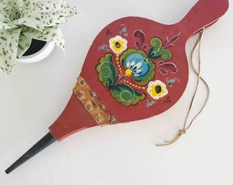 Vintage Fireplace Bellow, Red Wood with Handpainted Flowers and Leather, Scandinavian Look, Colorful