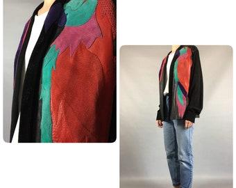 Leather 1980's Vintage Black Jacket Medium 80's Color Blocked Patchwork Open Front Leather Jacket Cross Colors Long Sleeve Spring Jacket VTG