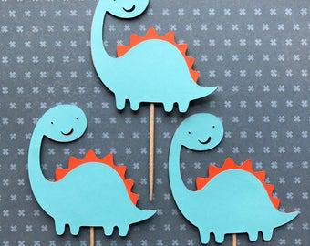 1 Dozen Dinosaur Cupcake Picks-baby shower, birthdays