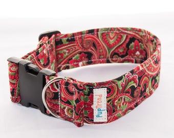 CLEARANCE! Christmas Paisley Designer Dog Collar//Paisley Dog Collars//Handcrafted Dog Collars//Christmas Dog Collar//Designer Collars