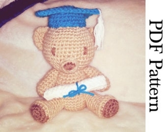 Crochet Graduation Bear Amigurumi Plush English PDF Pattern
