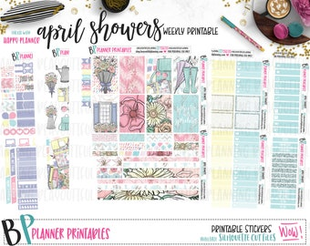 April Showers | Weekly Printable Kit | Planner Stickers | Cut Line Files | for use with Happy Planner | Printable Planner Stickers