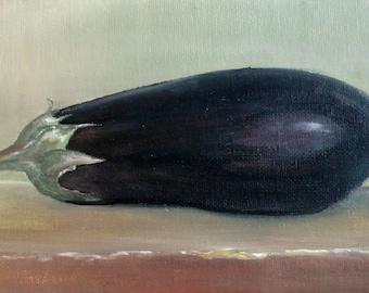 Eggplant original still life oil painting  by Rania Kuhn (RORO). ready to hang Still Life Kitchen Art Small Painting Home Wall Decor