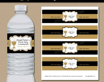 First Communion Water Bottle Label Template, Party Decorations, Printable 1st Communion Favors, Party Ideas, INSTANT DOWNLOAD Black Gold