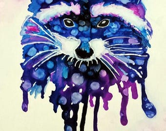 "Raccoon painting , alcohol inks , colorful raccoon ,"" Mischief"""