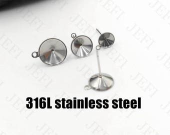Wholesale 100 Earring Posts- Surgical Steel Hypo-Allergenic Earring W/ Inner 6mm/ 8mm/ 10mm/ 12mm Cup Bezel Setting Stud Earring with Loop