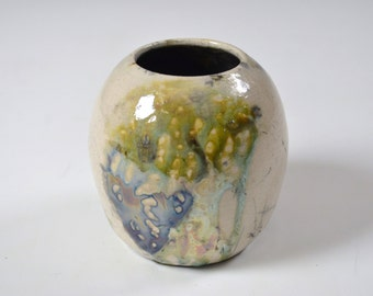 White Turquoise & Golden Yellow Raku Small Ceramic Vase, Modern Home Decor, Unique Drips Vessel, Tiny Clay Bud, Miniature Dried Flowers Pot