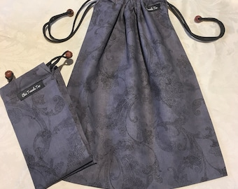 Shoe bag (1x) gray Paisley pattern with wooden beads