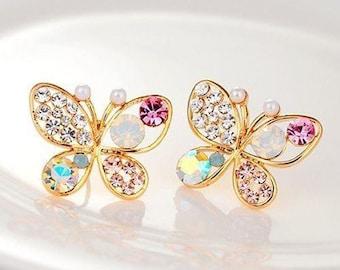 multicolored Butterfly rhinestone earrings Retro Stud Earrings