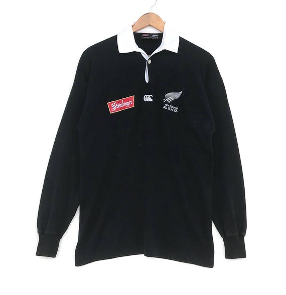 RARE!!!! Canterbury Of New Zealand All Blacks Rugby Small Logo Embroidery Black Colour Polos Sweatshirts Jumper Pullover Small Size UjYEXy3gp