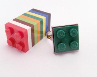 YOU CHOOSE COLOR Game Piece Tile Plate Block Plastic Square Adjustable Ring Dork Nerd Geek Punk Retro Rad