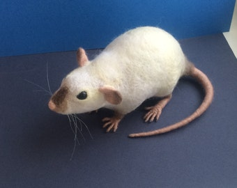 Rat MADE to ORDER Needle felted fancy rat Soft sculpture, Wool figurine, Handmade Ooak animal art doll plushie Pet