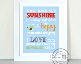 Nursery Art - You are My Sunshine Prints for Nursery or Kids Room,  Baby Nursery Decor, 8x10
