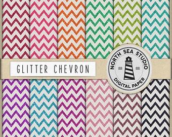 GLITTER CHEVRON   Digital Paper Pack   Scrapbook Paper   Printable Backgrounds   12 JPG, 300dpi Files   BUY5FOR8