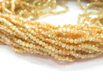 Gold and Beige Rondelle Faceted Glass Beads 2,5x2 mm 1 Strand approx 40 cm ( approx 15 inch-  approx 190 Pcs) G8102