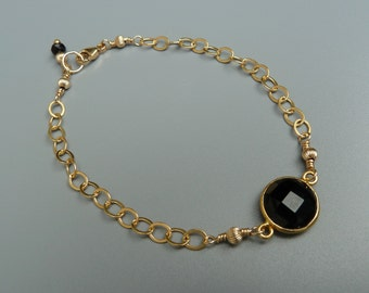 Gemstone Stacking Bracelet, Black Onyx Bracelet, Gemstone Layering Bracelet, Delicate Bracelet, Gold Stacking Bracelet, Stackable Bracelet