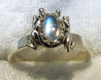 Rainbow Moonstone Frog Ring, June Birthstone, Hand Crafted Recycled Sterling Silver, Handmade band, natural, jewelry Cancer Libra Scorpio