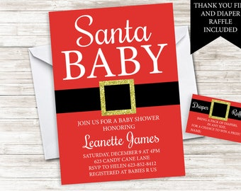 Santa Baby Shower Invitation Invite Digital 5x7 Christmas Holiday Red Sprinkle Gender Nuetral