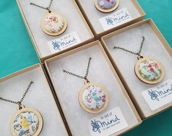 Semicolon pendant jewellery in mini embroidery hoop, antique bronze colour 32/18 inch chain mental health suicide awareness floral necklace