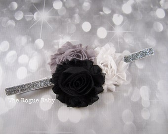 Silver Headband - Black. White. Gray. Glitter. Monochromatic.  Newborn Infant Baby Toddler Girls Adult