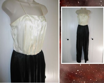 Classic Vintage 1970s Jumpsuit / Romper / Retro / Black & White Satin / Black Tie / Formal