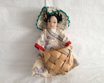 Asian Cloth Woman Folk Doll with Basket