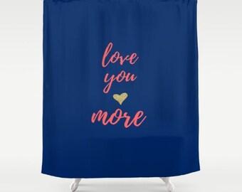 Love You More,  Purple Bathroom Decor, Custom Shower Curtain, Gold Home Decor, Love Sayings, Kids Bathroom Accessories, Childrens Bath Gifts