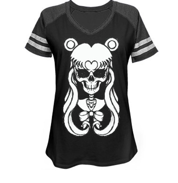 Sailor Moon Skull Game Day V Neck Jersey Tee