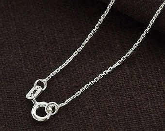 16 inches of 925 Sterling Silver Fine Cable Chain Necklace 1mm. Delicate Chain  :th2343-16