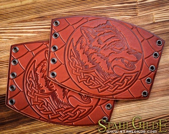 Leather Cuff Archery Arm guard LARP armor Bracers Viking Armor Wolves Celtic Spiritual Viking armor Amulet with Scale design: pair