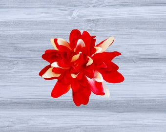 Red and White Dahlia Flower Hair Clip