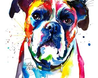 Colorful Boxer dog Art Print - Print of my Original Watercolor Painting (FREE Shipping)