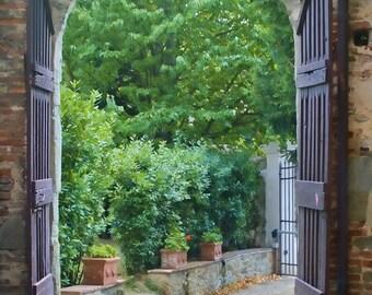 Into the Villa - Tuscany, Italy - Fine art travel photography - Florence door art - green, terra-cotta - Home decor, Wall art