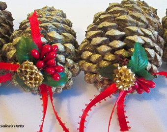 Real Pine Cone Christmas Ornament, Glitter Pine Cone , Woodland Christmas, Country Christmas, Rustic Tree Decor, Winter Cone Decor, Pinecone