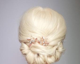 Leaf Hair Pins, Rose Gold Hair Clip, Rose Gold Hair Piece, Wedding Headpiece, Rose Gold Leaf Hair Comb, Hair Vine, Bridal Hair Pins