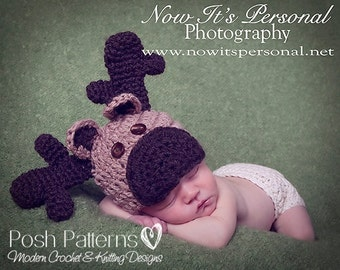 Crochet PATTERN - Crochet Moose Hat - Crochet Hat Pattern - Baby Crochet Pattern - Includes 3 Sizes - Photo Prop - Instant Download PDF 238