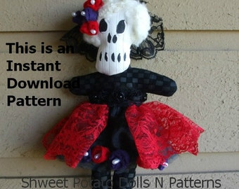 Día de Muertos Day of the Dead Art Doll  ePattern PDF Instant Download