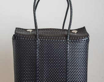 Large Black Boxy Tote Bag/Weekender-Oscuro