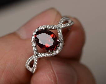 Oval Cut Garnet Ring Silver Engagement Ring Red Gemstone Ring January Birthstone